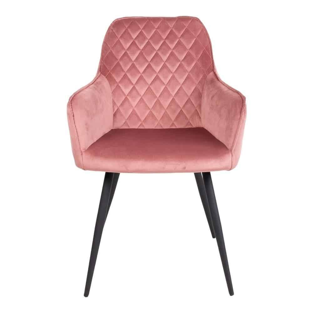 Stol i rosa velour med sorte ben
