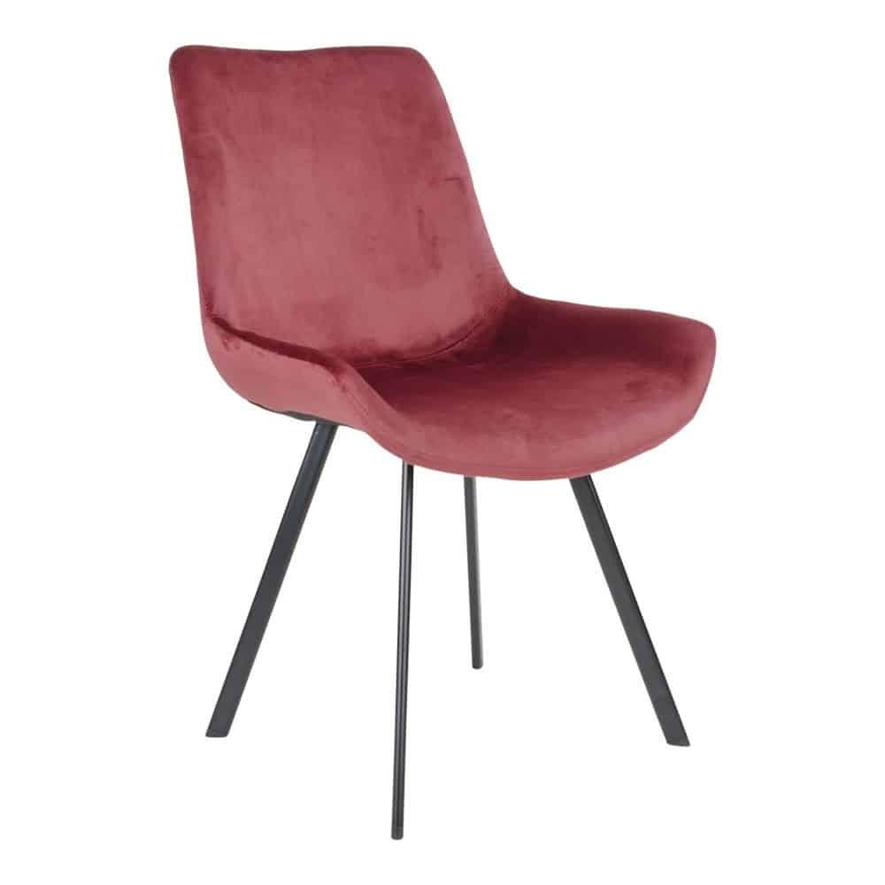 Drammen stol i rød velour med sorte ben