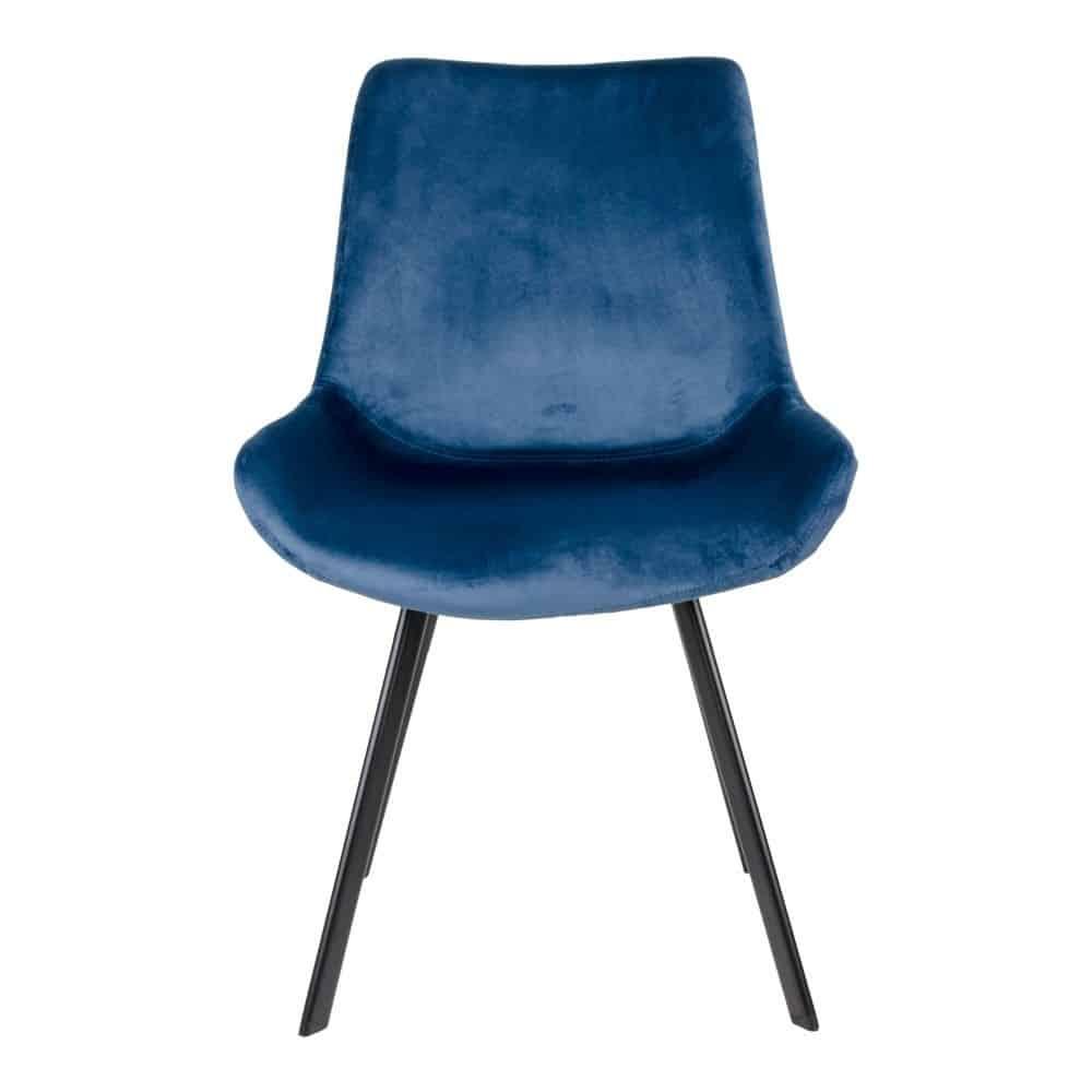 Spisebordsstol i blå velour med sorte ben