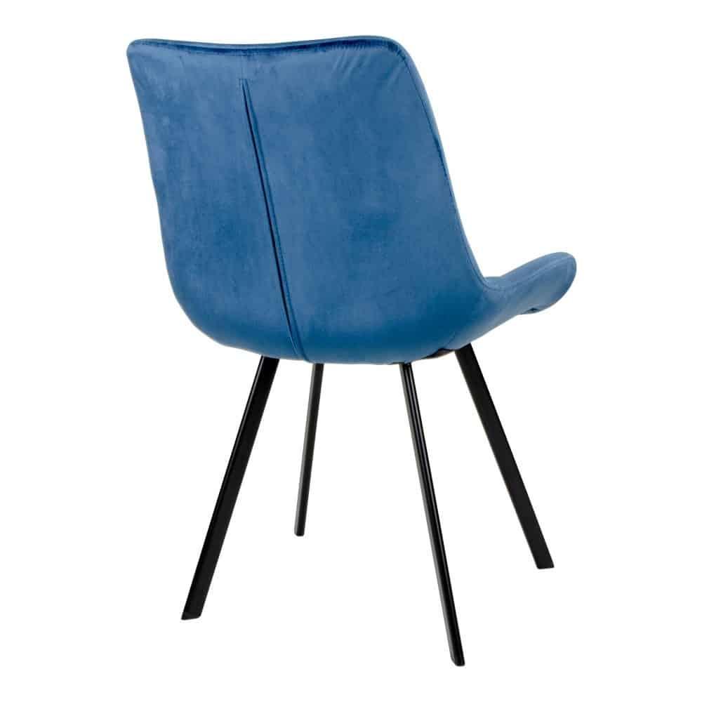 Blå velour stol med sorte ben