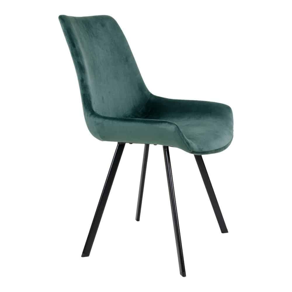 Grøn velour stol med sorte ben