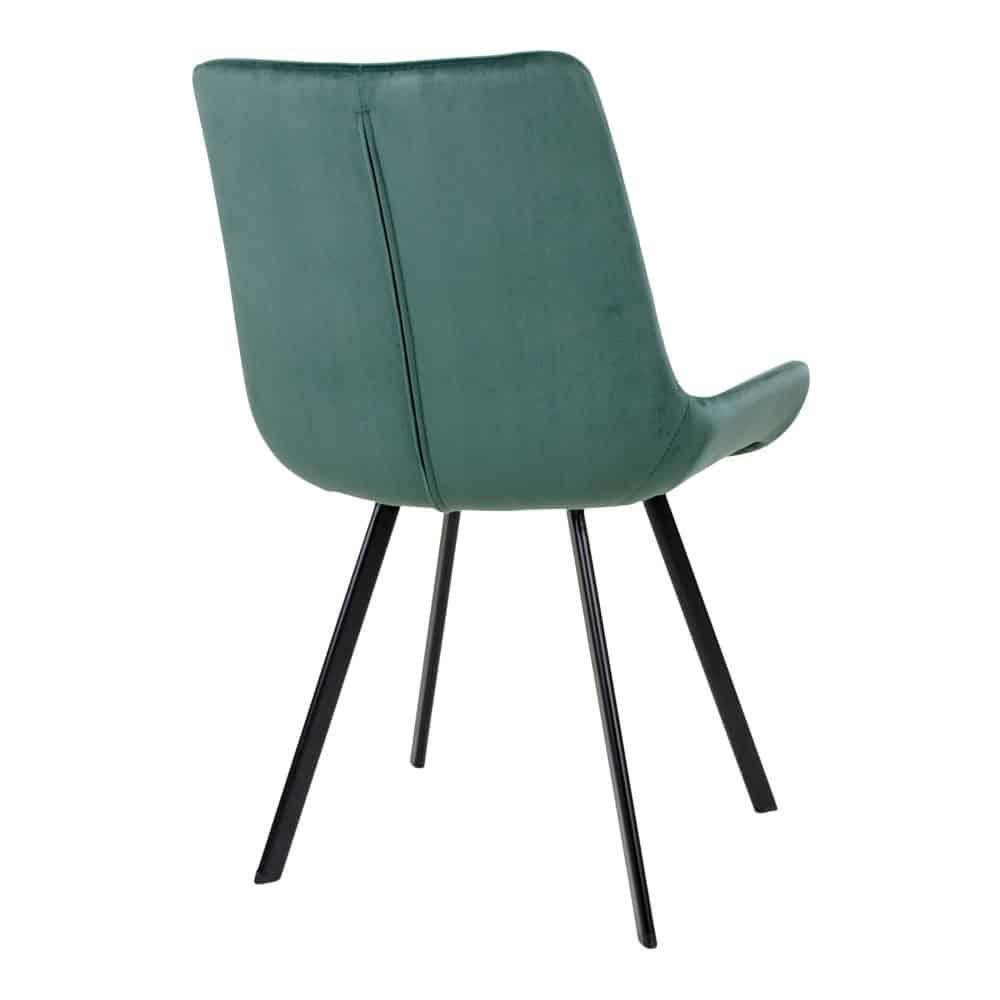 Drammen grøn velour spisebordsstol med sorte ben