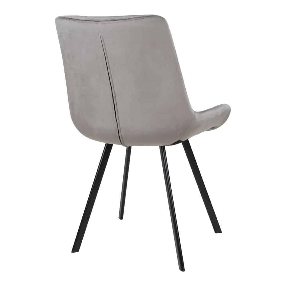 Drammen grå velour spisebordsstol med sorte ben
