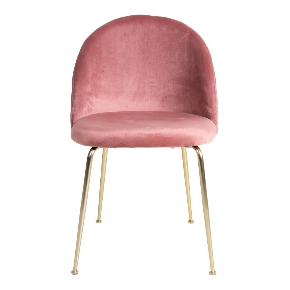 Rød velour spisebordsstol i rød