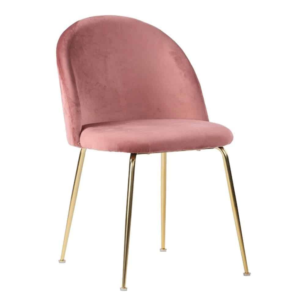 Velour spisebordsstol i rød med ben i messing look