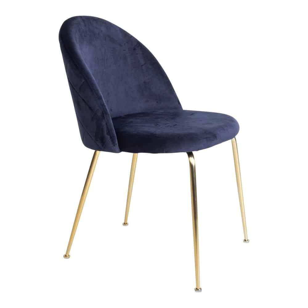 Spisebordsstol i blå velour med messing look ben