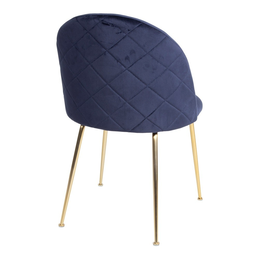 Velour stol i blå velour med ben i messing look