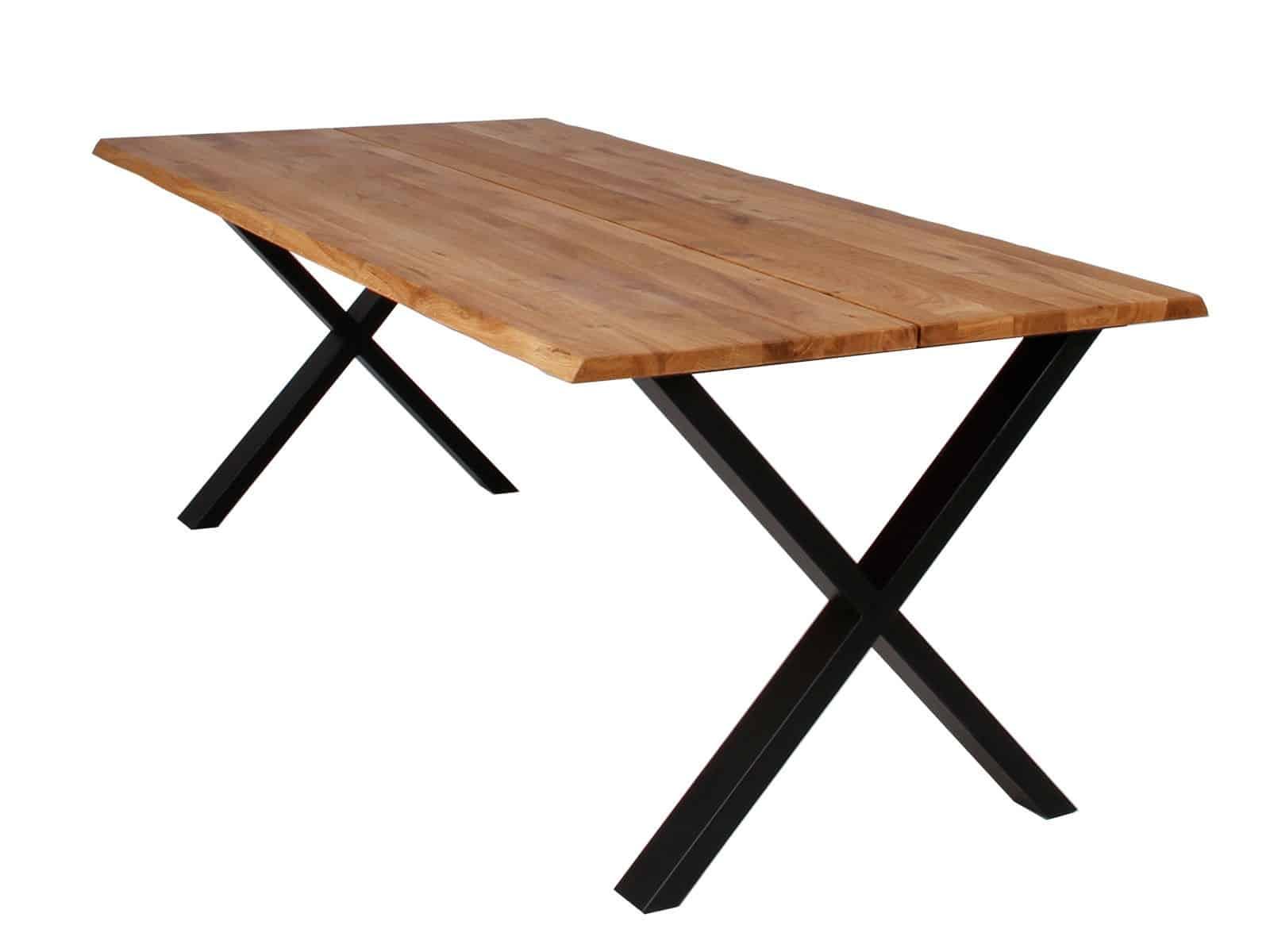 X spisebord stel med træplade